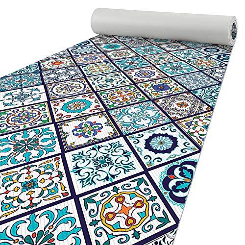 ANRO Küchenteppich Läufer Küchenläufer Teppichläufer Bodenläufer Orientalische Fliese Abwaschbar 200x50cm