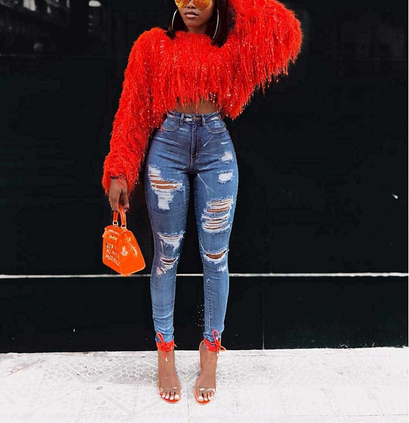 Womens Fashion Pullover Sweaters - Long Sleeve Fall Winter Clothes Warm Faux Fur Fringe Oversized Crop Tops Outwear