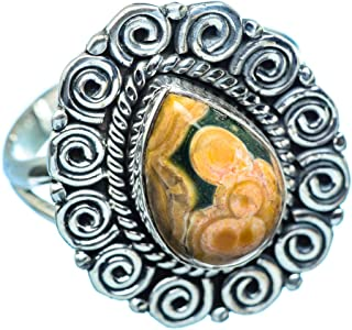 Co Ocean Jasper Ring Size 8.5 (925 Sterling Silver) - Handmade Jewelry, Bohemian, Vintage RING971108