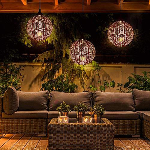 Solarlaterne für Außen GolWof Solar Laterne Hängend Aussen LED Solarleuchte Garten Hängend IP44 Wasserdicht Metall Solarlampe Garten für Aussen Garten Patio Balkon (Runden)