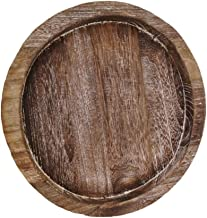 KESYOO Whitewashed Round Decorative Wood Tray Wooden Serving Tray Food Platter Candle Holder Table Decoration 20.5cm