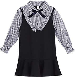 Weixinbuy Kids Baby Girls Preppy Style Turn-Down Collar Long Sleeve Bowknot Plaid Vintage Party Dresses Clothes