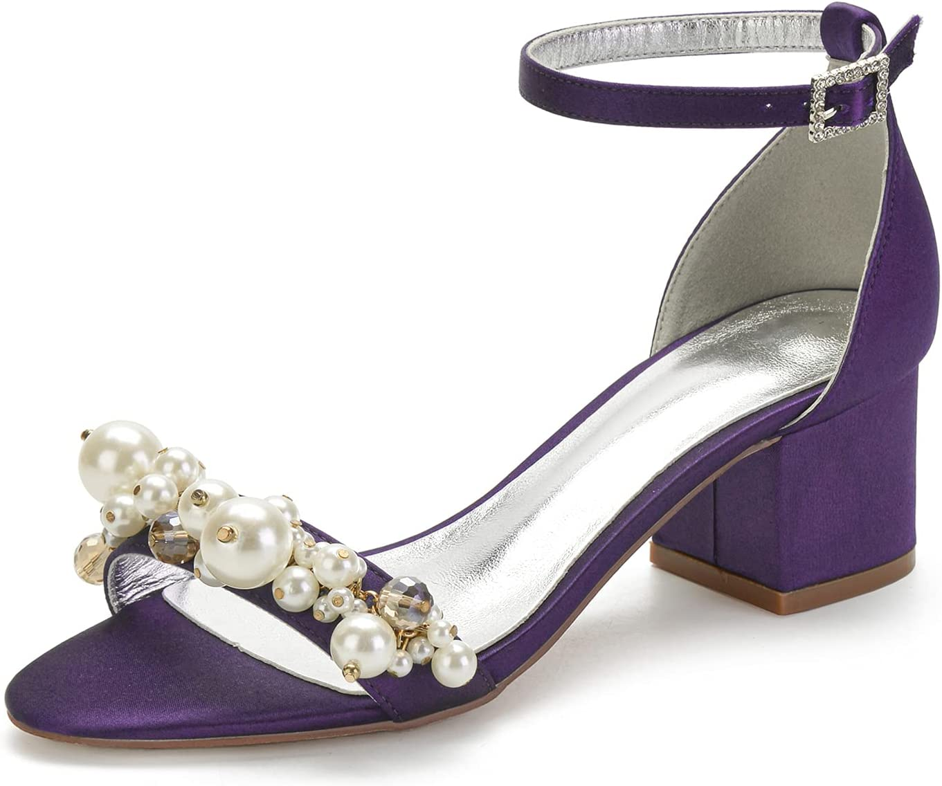 Max 58% OFF Women Satin Wedding Sandals for Bride Ankle Strap High material Heel Low Block