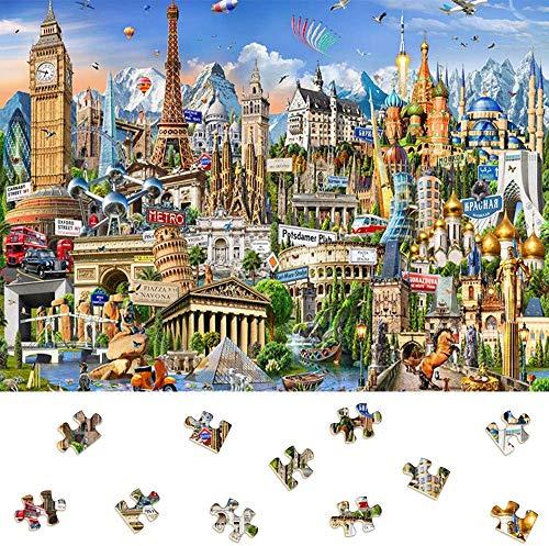 Puzzle de 1000 Piezas para Adultos, Obra de Arte de Juego de Rompecabezas para Adultos, Adolescentes, Rompecabezas de Piso de Impresión de Alta Definición Multicolor (Símbolos de Europa 70x50cm)