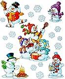 alles-meine.de GmbH 9 TLG. Set _ Fensterbilder -  Winter & Weihnachtsmotive - Schneemänner & Schneeflocken  - statisch haftend - selbstklebend + wiederverwendbar / Weihnachten .. -