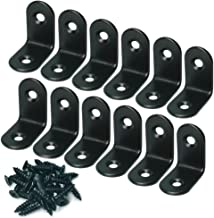 Alamic Corner Brace 25 x 25mm Stainless Steel Black Brace Corner Steel Joint Right Angle Bracket Fastener with Screws - 12 Pcs