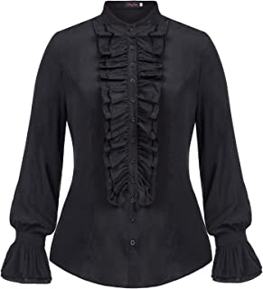Hanna Nikole Women Plus Size Victorian Gothic Ruffled Lotus Shirt Blouse Tops