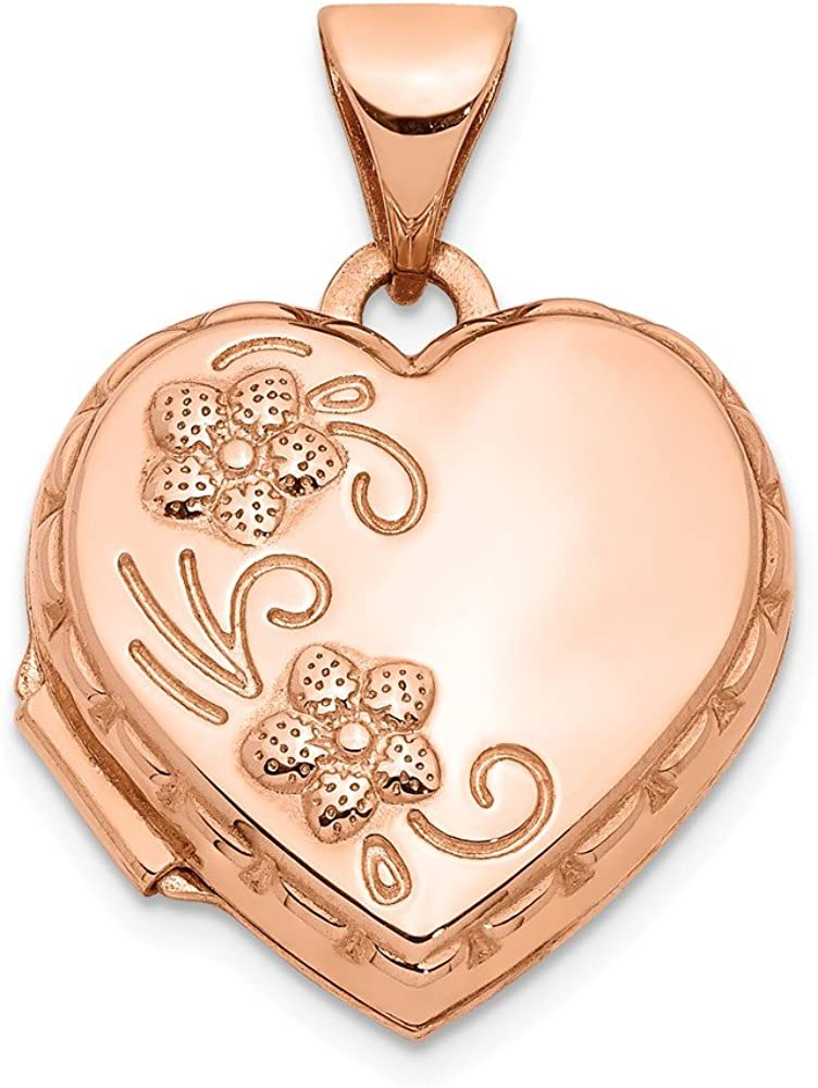 14k Rose Gold 15mm Floral Heart Photo Pendant Charm Locket Chain Necklace That Holds Pictures Fine Jewelry For Women Gifts For Her
