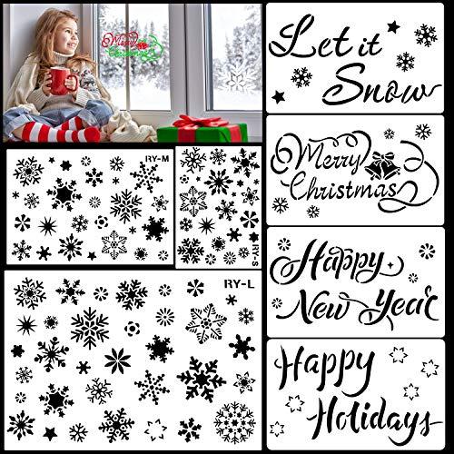 HOWAF Kit de Dibujo de Plantilla de Navidad de plástico Reutilizable, 7pcs Grande Feliz Navidad Año Nuevo Copo de Nieve Plantilla para DIY Decoración de Navidad Pared Escaparate Manualidades