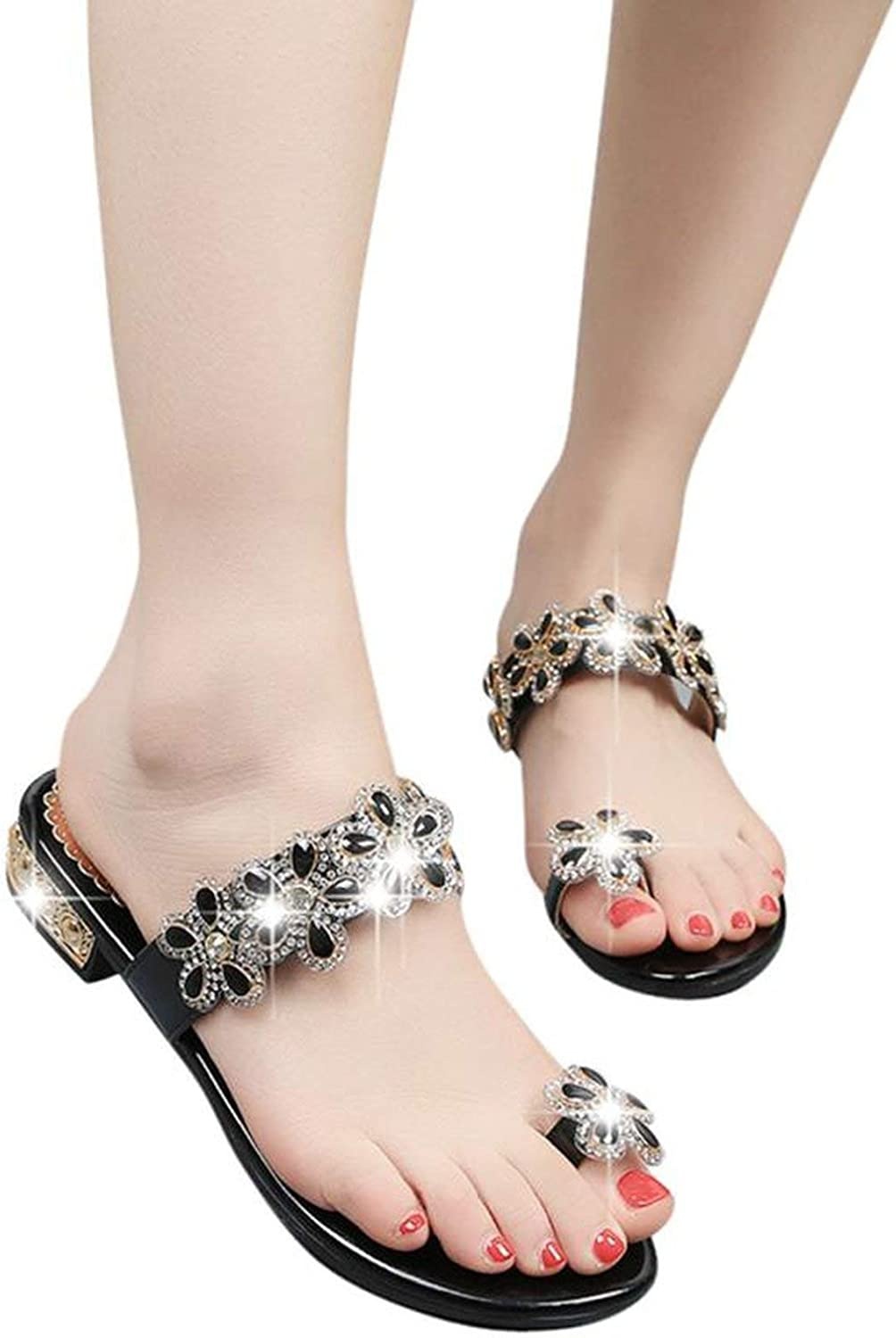 Rhinestone Floral Open Toe shoes Bohemia Anti Skidding Low Heel Slippers