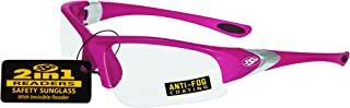 SSP Eyewear 1.50 Bifocal/Reader Safety Glasses with Pink Frames and Clear Anti-Fog Lenses, ENTIAT 1.5 PNK CL A/F