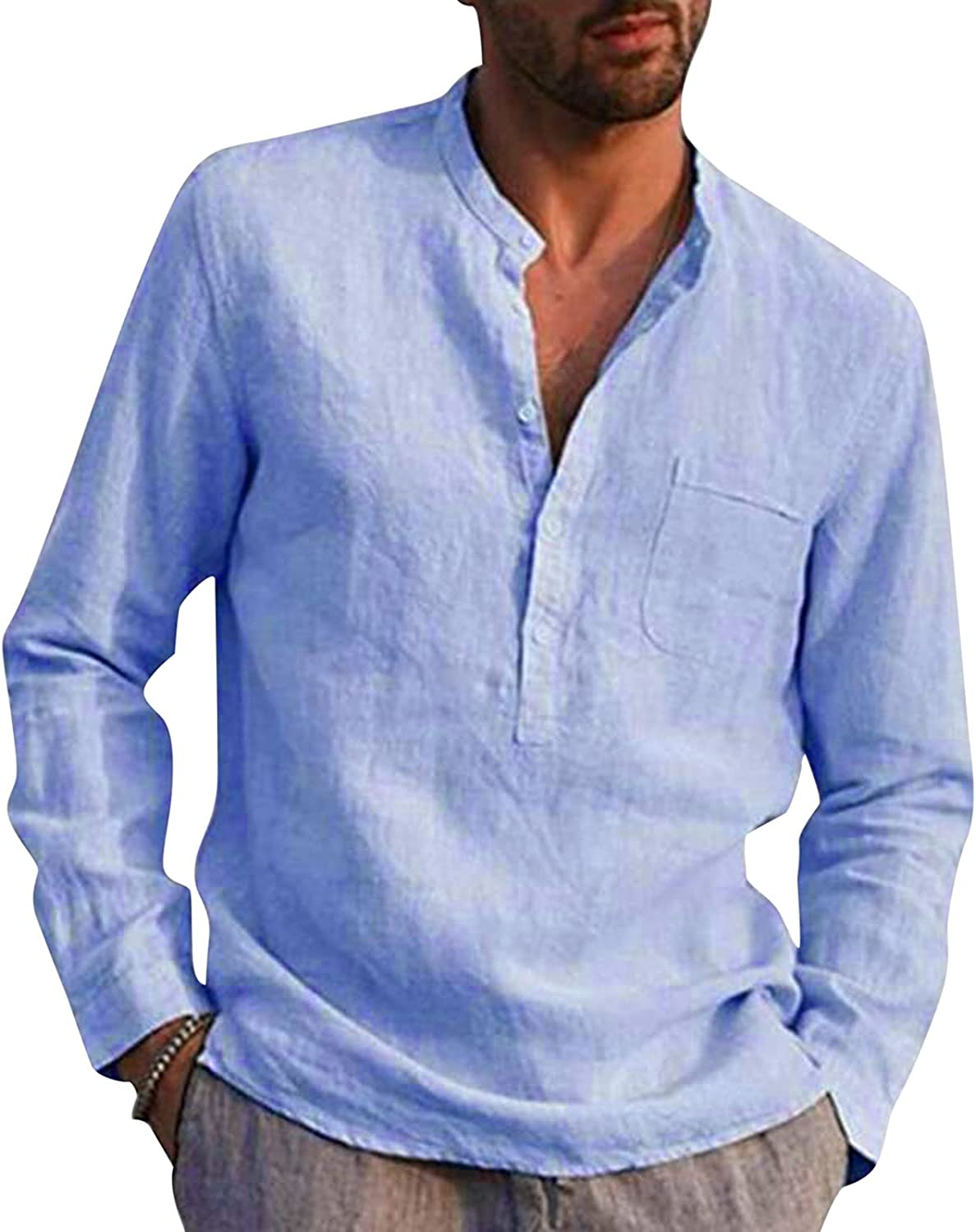 Mens Slim-fit Polo Shirt Sleeve Long Sleeve Button Down Lapel Tees Casual Classic Solid Linen Cotton Tops with Pocket