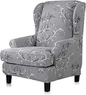 TIKAMI Wing Chair Slipcovers 2-Piece Spandex Stretch Sofa Covers with Arms Printing Pattern Fabric Furniture Protector(Gray Pattern)