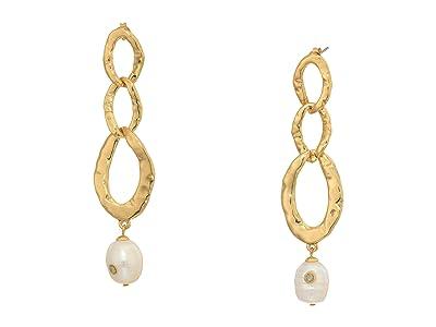 SOLE / SOCIETY Linear Link w/ Pearl Earrings (Gold) Earring
