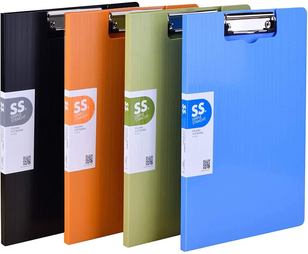 4 sets of foldable clipboards, binders, sturdy PC hard plastic materials, 12.4 inches 9.1 inches 0.5 inches, easy to carry, widely used in office, school, business travel.