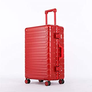 """Stylish and durable Wheels Travel Rolling Boarding,20""""24""""26""""Inch 100% Aluminium Spinner Aluminium Convenient Trolley Case,Super Storage Luggage Bag, high quality (Color : Red, Size : 20inch)"""