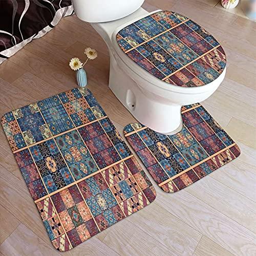 Juego de alfombrillas baño 3 piezas,Azulejos marroquíes orientales vintage colori,juego de alfombras, alfombra de baño antideslizante,alfombrilla de contorno,alfombras para cubrir la tapa del inodoro