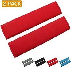 MIRKOO Car Seat Belt Cover Pad, 2-Pack Soft Car Safety Seat Belt Strap Shoulder Pad for Adults and Children, Suitable for Car Seat Belt, Backpack, Shoulder Bag, Laptop Computer Bag (Red)