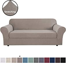 H.VERSAILTEX High Stretch Sofa Cover 2 Pieces Machine Washable Stylish Furniture Cover/Protector with Spandex Jacquard Checked Pattern Fabric for 3 Seater Sofa (Sofa Large, Taupe)