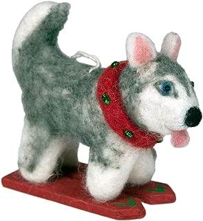 Wild Woolies Felt Ornament Skiing Husky