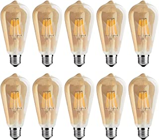 LED Edison Bulb,6w Dimmable Led Light Bulb, Vintage LED Filament Light Bulb, st64 led Bulb,2700K, Antique Style, e26 Medium Screw Base, Amber Glass Cover,10 Pack.