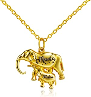 Sponsored Ad - EASYSO Double Elephant Pendant Personalized Necklace,Mother & Baby Elephant Charm Custom Animal Chain, Gold...