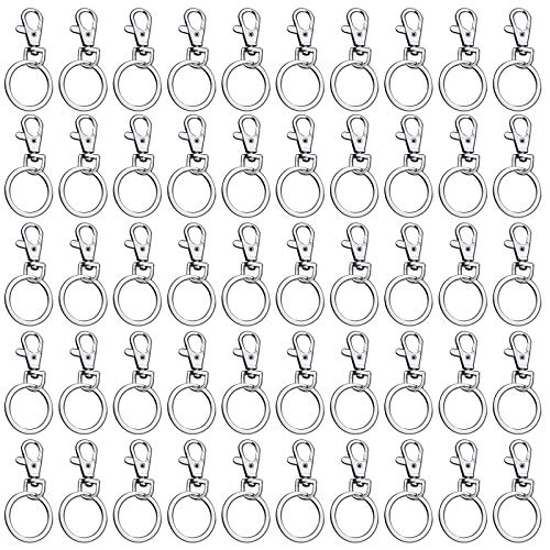 Lobster Detachable Swivel Clasps 50 Pack Metal Swivel Clasp Lanyard Snap Hook with Key Ring Swivel Hook Key Ring Jump Ring Key Chain Hardware for Dog Lanyard Sewing Jewelry DIY Arts & Crafts Charm