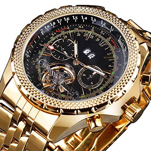UNJ Reloj de Pulsera mecánico automático con Pantalla de Calendario de Acero Inoxidable Dorado para Hombre,GMT1105-2