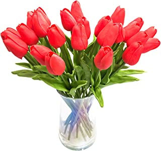 JOEJISN 30pcs Artificial Tulips Flowers Real Touch Red Tulips Fake Holland PU Tulip Bouquet Latex Flowers for Wedding Party Office Home Kitchen Decoration (Bright Red)