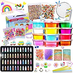 [EVERYTHING YOU NEED] - This all-inclusive homemade clear slime kit contains everything you need to keep boys and girls occupied for hours! 12 Color Clear Crystal Slime, 12 Slime Containers, 48 Packs Glitter Sheet Jars, 25 Packs Slime Charms(unicorns...