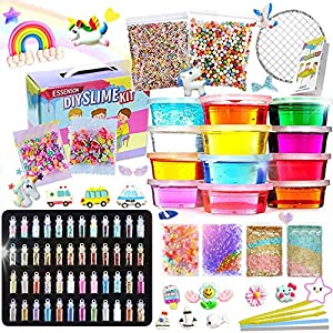 ESSENSON Slime Kit – Slime Supplies Slime Making Kit for Girls Boys, Kids Art Craft, Crystal Clear Slime, Glitter, Slime…