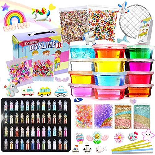ESSENSON Slime Kit - Slime Supplies Slime Making Kit for Girls Boys, Kids Art Craft, Crystal Clear Slime, Glitter, Slime Charms, Fruit Slices, Fishbowl Beads Girls Toys Gifts for Kids Age 6+ Year Old