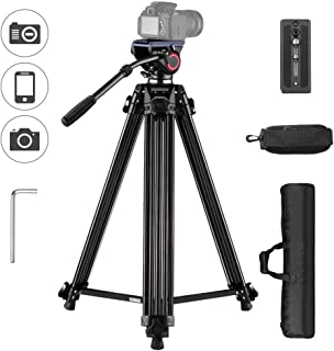 Trípode de Video Profesional en Aleación de Aluminio Andoer para Cámaras Canon Nikon SLR Sony con Liberación Rápida Hidráulica opcional Altura 67 pulgadas Carga Máxima 10 kg