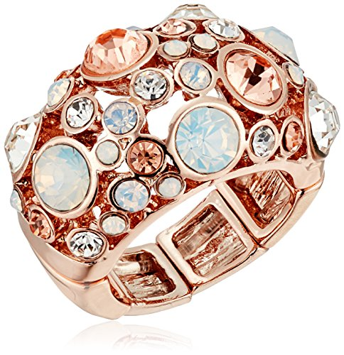 GUESS 'Basic Rose Gold Domed Multi-Stone Adjustable Ring, Size 7-9