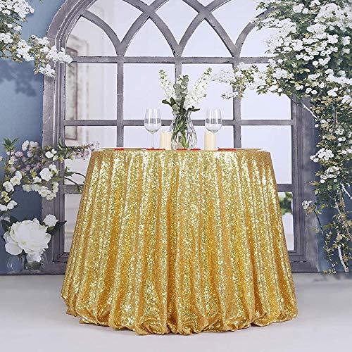 JDV Mantel de Mesa Redonda de Lentejuelas con Purpurina, Mantel para decoración de Comedor, Fiesta de Navidad, Banquete de Boda(Gold 80cm)