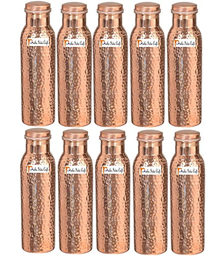 Prisha India Craft Ayurveda - Juego de 10 botellas de agua de cobre puro (900 ml, sin juntas, hechas a mano)