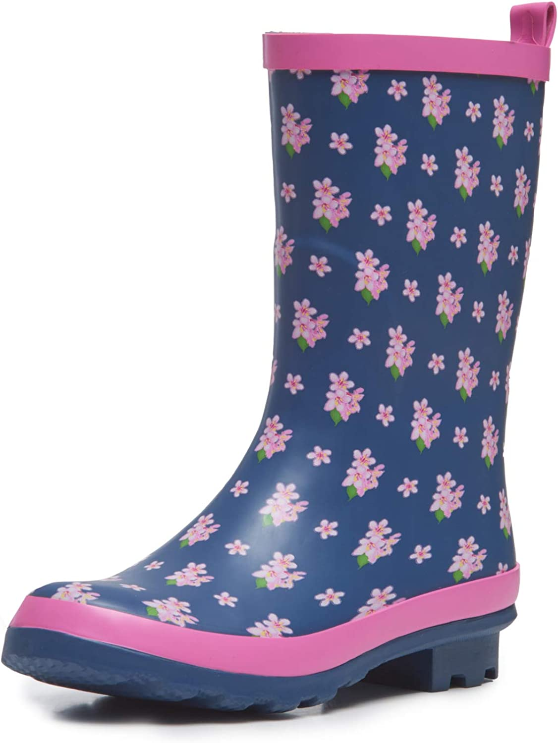 Laura Ashley Ladies High Cut Mid Calf Rubber Rain Boots, Lightweight Waterproof Booties for Women, Navy & Pink Floral, 1