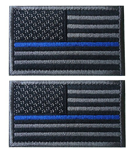 TACVASENBundle 2 Pieces-Tactical US Flag Thin Blue Line Embrodiered Patch