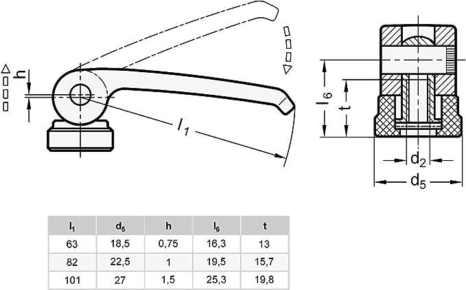 Ganter Normelemente Exzenterspanner mit Schraube schwarz 927-63-M6-40-B-B Gewinde d2: M6 Hebel Zink-Druckguss Griffl/änge l1:  63mm 1 St/ück