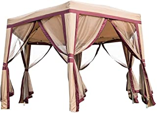 Peach Tree 12' x 8' Outdoor Patio Iron Gazebo Canopy Garden Backyard Tent with Mesh Side Walls Mesh Curtains Mosquito Netting Red