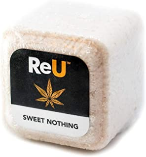 Hemp Bath Bomb Cube by ReU - 100MG Organic Hemp and Coconut Oils, Himalayan Sea Salt, Shea Butter - Relieves Stress, Muscle, Back Pain, Softens Skin - No Artificial Dyes or Colors (Unscented)