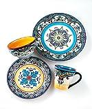 Euro Ceramica Zanzibar Collection Vibrant 16 Piece Oven Safe Stoneware Dinnerware Set, Service For...