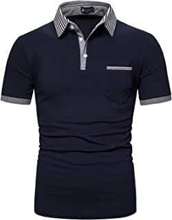 STTLZMC メンズ コットン 半袖 ポロシャツ コントラストカラー カジュアル スポーツ テニス シャツ