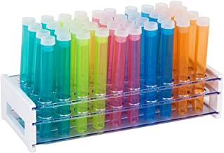 50 Tube - 16x125mm Assorted Color Plastic Test Tube Set with Caps and Rack, Karter Scientific 150A17