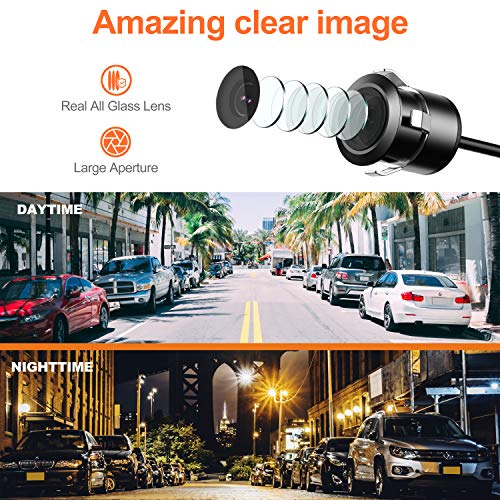 Reverse Backup Camera,RAAYOO L002 2-in-1 Universal Car Front/Side/Rear View Camera,2 Installation Options,Removable Guildlines,mirror non-mirror image,12V only