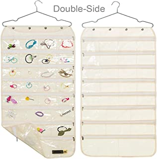 Earring Organizer with Zipper, Dual-Sided 56-Pocket Hanging Jewelry Storage Display Necklace Earring Ring Pouch Pocket, Accessories Organizer Closet Wall Holder, Transparent, Hanger Included, Beige
