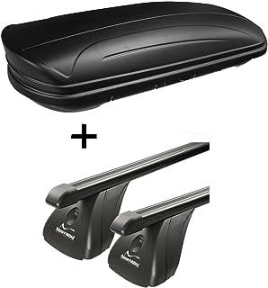 Dachbox VDPMAA320 320Ltr abschließbar schwarz matt + Stahl Dachträger Aurilis Original kompatibel mit Opel Vectra C (4Türer) 2002 2008