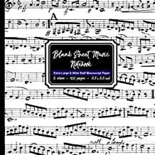 Blank Sheet Music Notebook: Square Black and White Musical Note book, Extra Large 6 stave staff paper, 100 pages, 8.5x8.5 inch Music Manuscript Paper Musician Notebook for writing music notation