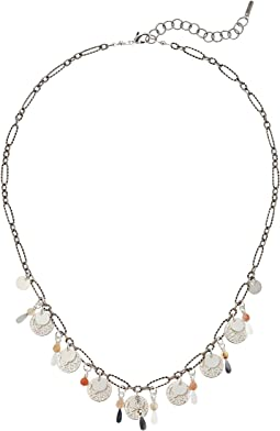 Chan Luu Charm and Coin Necklace with Semi Precious Stones