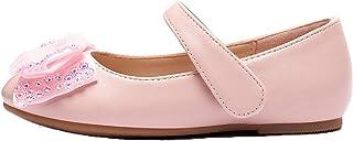 Zapatos Mary Jane para niñas Zapatos Planos Informales con Lazo Bonito de Color sólido Zapatos cómodos de Cuero de Princes...